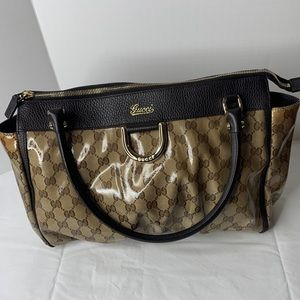 Gucci D ring coated canvas guccisimma Satchel hobo
